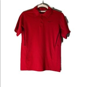 NIKE DRI - FIT Red Polo Shirt Size Large .